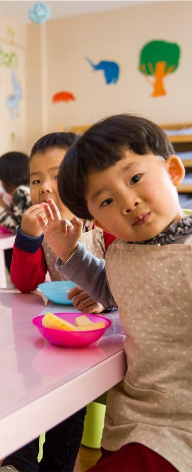 Children eating snacks